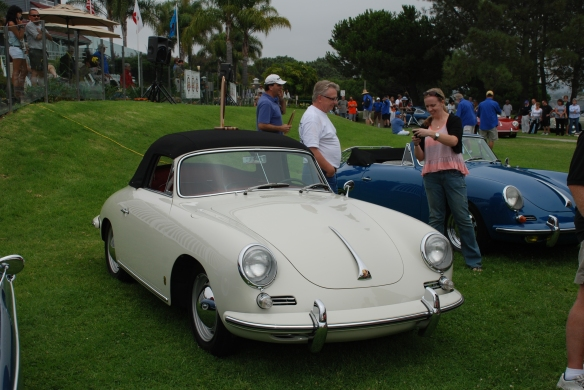 Ivory white with red interior Porsche 356 Cabriolet__trophy winner_356 Club of California Dana Point Concours_ July 21, 2013