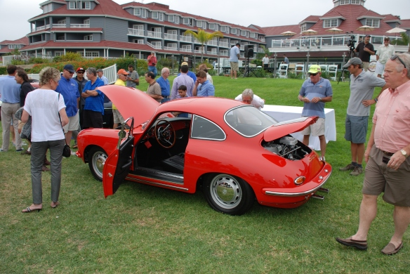 1964 Signal Red Porsche 356 Carrera 2_ 3/4 side view opened up_356 Club of California Dana Point Concours_ July 21, 2013