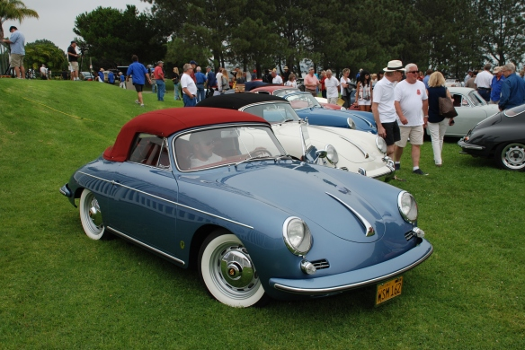 Line up of Concours trophy winners_blue 356 cabriolet w/ red top in foreground_356 Club of California Dana Point Concours_ July 21, 2013
