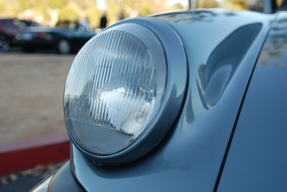 Slate Gray 1984 Porsche 930 Turbo_H4 headlight detail & reflections_Cars&Coffee/Irvine_ 9//30/13
