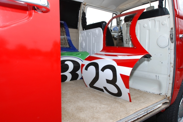 Red & white Porsche team VW support van_ spare 917 door panels, # 3, #23_Cars&Coffee_ August 31, 2013