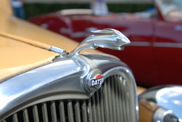 1935 Datsun 14 roadster (#002)yellow_bunny hood emblem _Cars&Coffee_August 31, 2013
