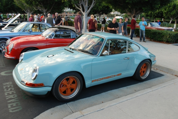 Pale blue Singer Porsche 911_3/4 side view w/ reflections_Cars&Coffee_August 31, 2013