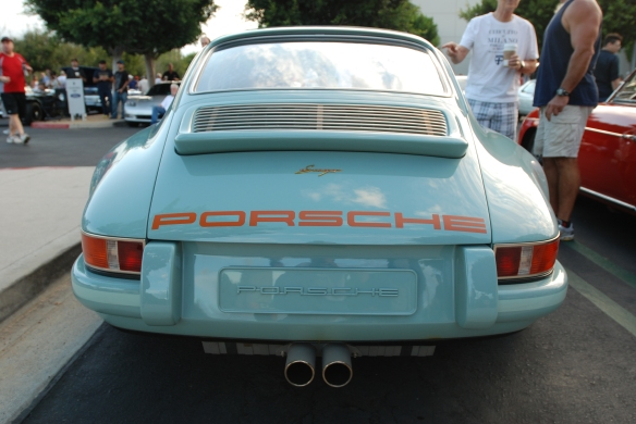 Pale blue Singer Porsche 911_rear view with reflections_Cars&Coffee_August 31, 2013
