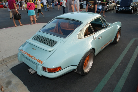 Pale blue Singer Porsche 911_rear decklid Singer badging_Cars&Coffee_August 31, 2013