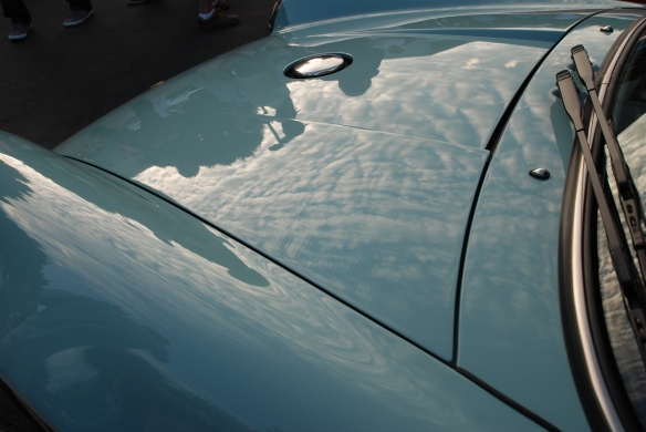 Pale blue Singer Porsche 911_front hood and fender, high cloud reflections_Cars&Coffee_August 31, 2013