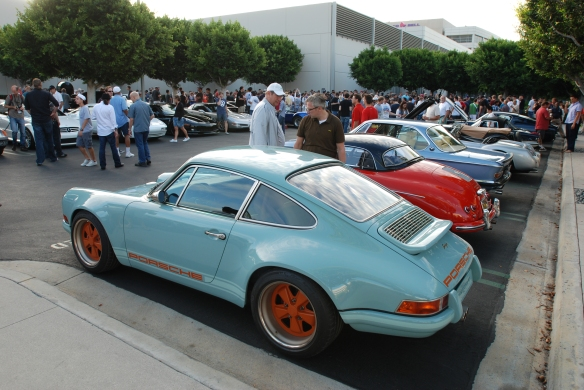 Pale blue Singer Porsche 911_3/4 rear view with reflections_Cars&Coffee_August 31, 2013