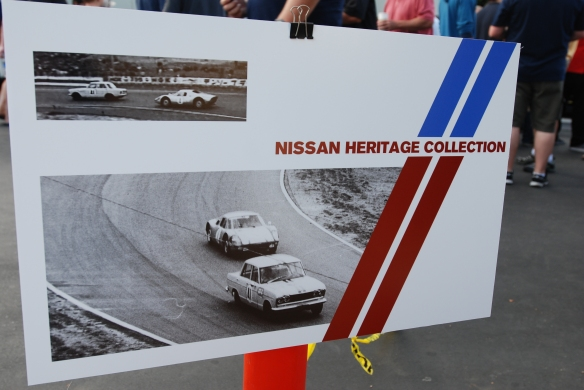Nissan Heritage Collection show card with vintage race photos_Cars&Coffee_August 31, 2013