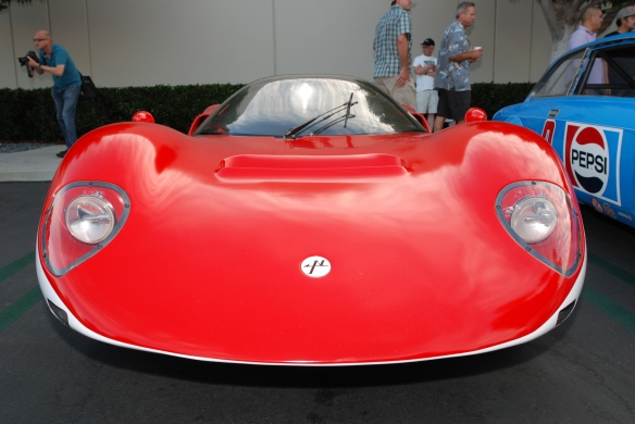Red & white 1967 Nissan R380-ii sports prototype_front view_ Cars&Coffee_August 31, 2013
