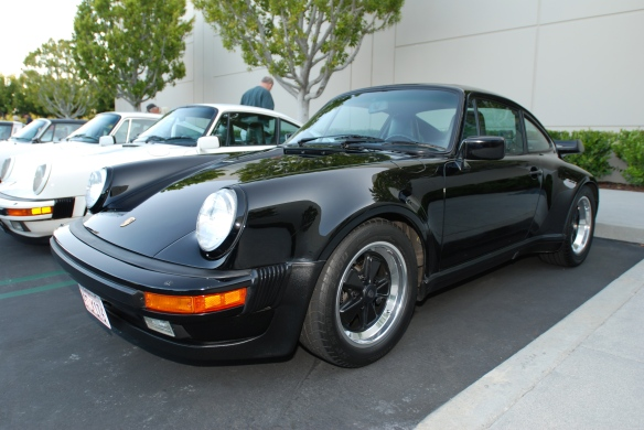 Black  on black 1987 Porsche 930 Turbo_3/4 front view_Cars&Coffee/Irvine_9/30/13