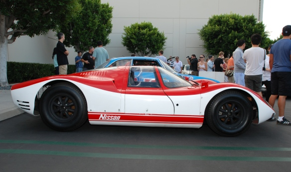Red & white 1967 Nissan R380-ii sports prototype_side view_ Cars&Coffee_August 31, 2013