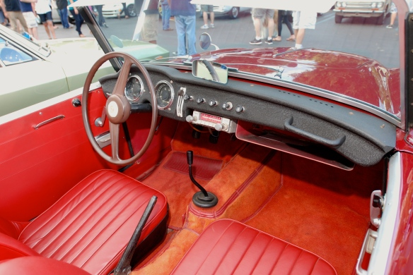 Red Datsun Fairlady roadster_interior_Cars&Coffee_ August 31, 2013