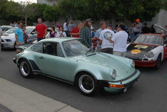 Magnus Walker's Ice Green Metallic 1977 930 Turbo_3/4 side view_Cars&Coffee/Irvine_9/30/13