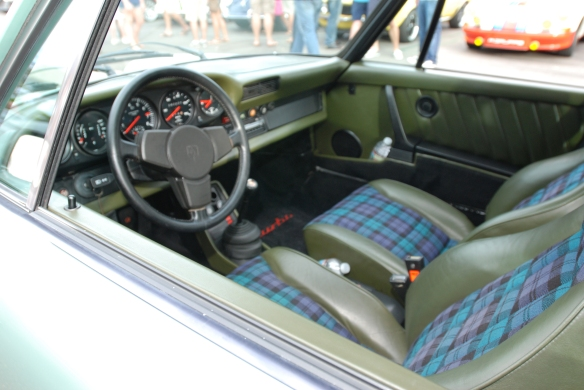 Magnus Walker's Ice Green Metallic 1977 930 Turbo_Green Interior w/ tartan plaid seat inserts_Cars&Coffee/Irvine_9/30/13