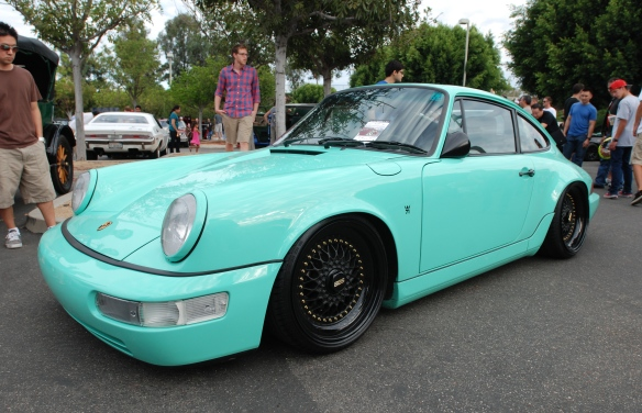 Lowered Mint Green Porsche 964 Carrera 2 coupe_3/4 front view_Cars&Coffee_August 31, 2013