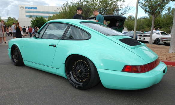 Lowered Mint Green Porsche 964 Carrera 2 coupe_3/4 rear view_Cars&Coffee_August 31, 2013