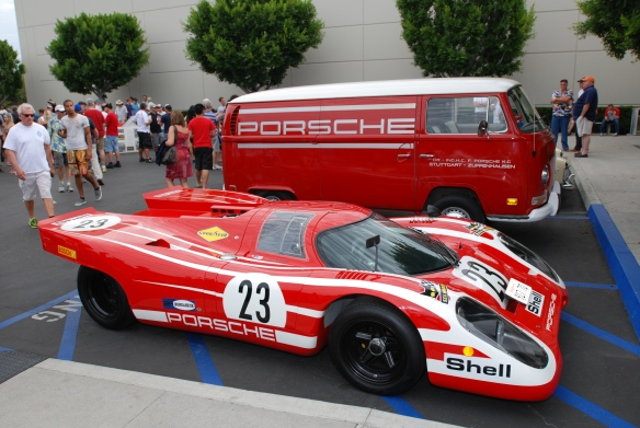 Red Porsche 917 recreation with team VW support van_ side view_Cars&Coffee_ August 31, 2013