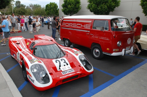 Red Porsche 917 recreation with team VW support van_ 3/4 front view_Cars&Coffee_ August 31, 2013