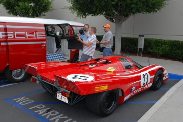 1970 Porsche 917 recreation and team VW support van_studying spare 917 door panel_Cars&Coffee_ August 31, 2013