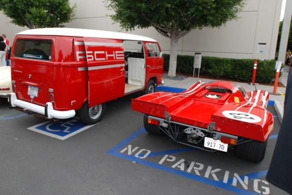 Red 1970 Porsche 917 recreation and team VW support van_3/4 rear view_Cars&Coffee_ August 31, 2013