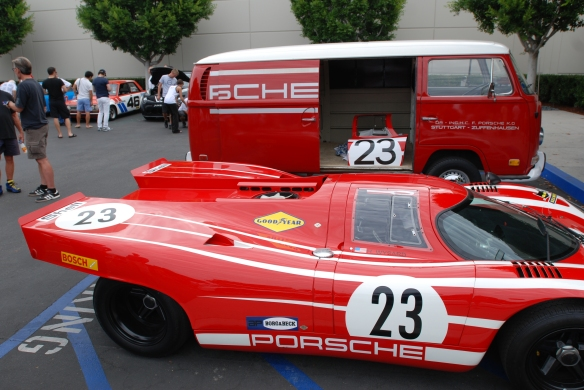 Red Porsche 917 recreation with team VW support van_ spare 917 door panel in open van_Cars&Coffee_ August 31, 2013