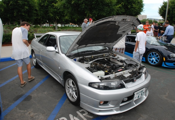 Silver right hand drive Nissan Skyline GTR_ 3/4 front view w/open hood_Cars&Coffee_August 31, 2013
