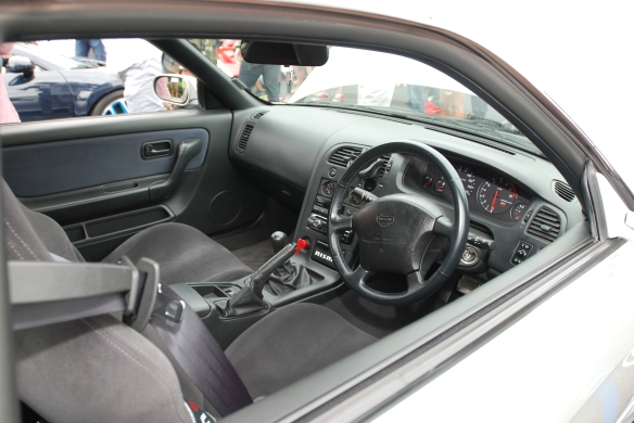 Silver right hand drive Nissan Skyline GTR_ interior view_Cars&Coffee_August 31, 2013