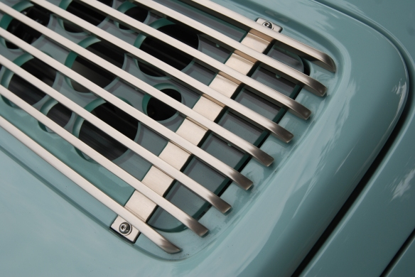 Pale blue Singer Porsche 911_rear decklid grill detail_Cars&Coffee_August 31, 2013