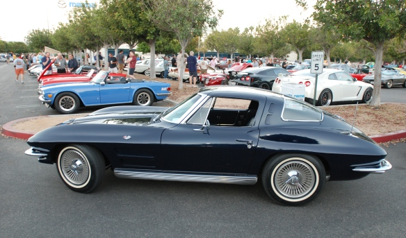 Daytona Blue 1963 Corvette Split window coupe_side view_Cars&Coffee_9/07/13