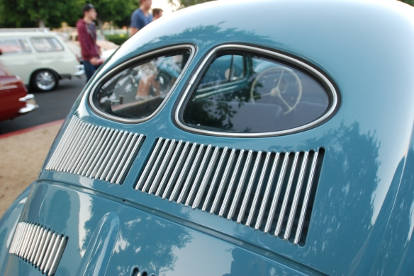 Blue 1951 split window Volkswagen  Beetle_ Rear window detail_Cars&Coffee_9/07/13
