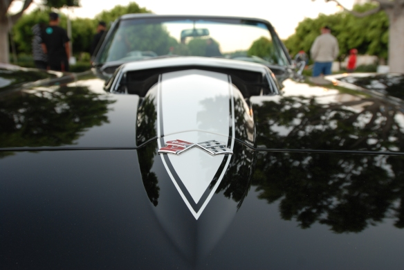 1967 427 Corvette Sting Ray roadster_close up front view, white stinger & reflections_cars&coffee/irvine_10/05/13
