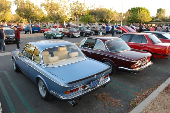 A pair of E9 BMW 3.0 CS models_3/4 rear view_cars&coffee/irvine_10/05/13