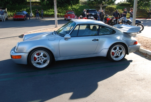 Silver 1993-94 Porsche 964 Turbo 3.6_side view_cars&coffee/irvine_10/05/13