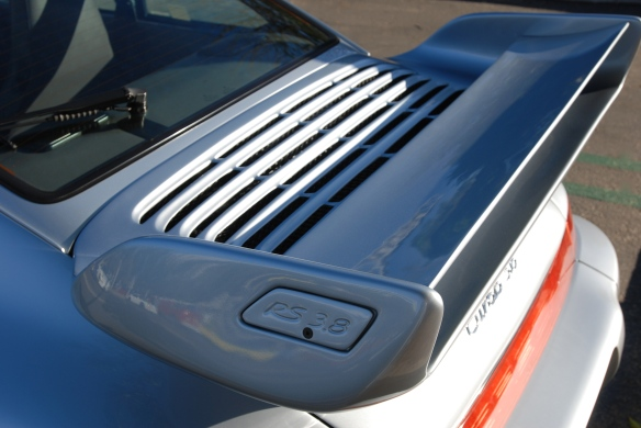 Silver 1993-94 Porsche 964 Turbo 3.6_RS 3.8 rear wing detail_cars&coffee/irvine_10/05/13