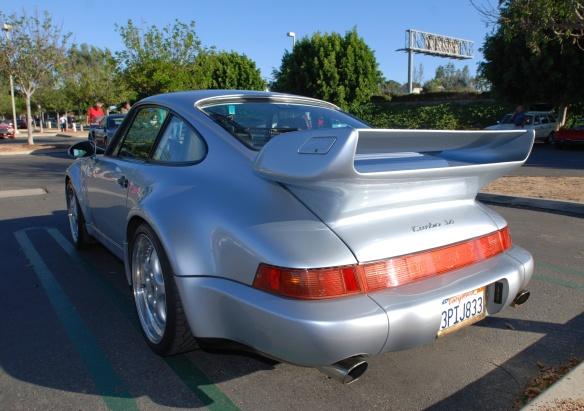 Silver 1993-94 Porsche 964 Turbo 3.6_3/4 rear view_cars&coffee/irvine_10/05/13