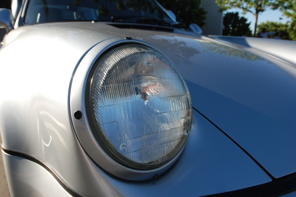 Silver 1993-94 Porsche 964 Turbo 3.6_headlight, fender & hood reflections_cars&coffee/irvine_10/05/13