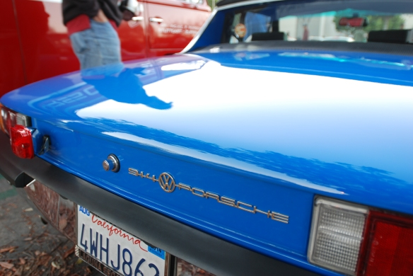 Adriatic Blue 1970 Porsche 914-6 with upgraded 2.7 Carrera RS motor_rear view / European rear badging & reflections_cars&coffee/Irvine_10/19/13