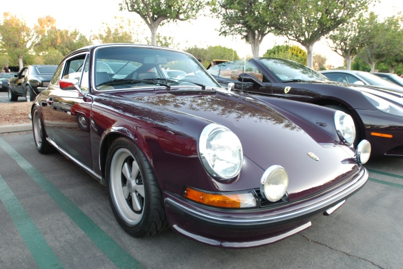 Aubergine 1973 Porsche 911T coupe_ RGruppe member_3/4 side view & reflections_cars&coffee_10/19/13