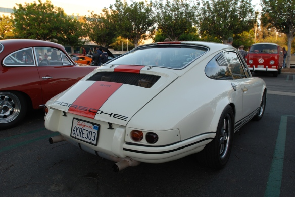 White with blood orange striped, 1967 Porsche 911R tribute_ 3/4 rear view_cars&coffee_10/19/13
