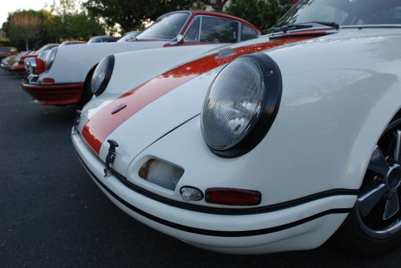 White with blood orange striped, 1967 Porsche 911R tribute_3/4 front fender and headlights view with friends_cars&coffee_10/19/13