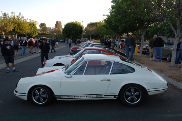 White with blood orange striped, 1967 Porsche 911R tribute_side view with friends_cars&coffee_10/19/13