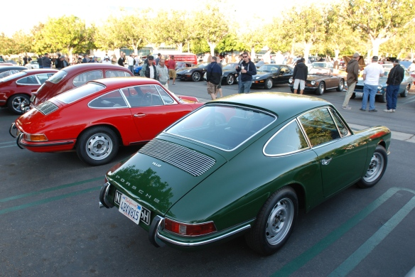 Polo Red 1966 Porsche 911 coupe and irish Green 1968 Porsche 912 coupe_3/4 rear view_cars&coffee/Irvine_10/19/13