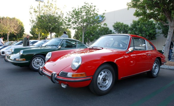 Polo Red 1966 Porsche 911 coupe and Irish Green 1968 Porsche 912 coupe_3/4 front view_cars&coffee/Irvine_10/19/13