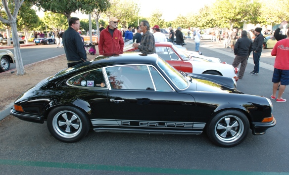 Black 1970 Porsche 911S_ RGruppe member_side view & reflections_cars&coffee_10/19/13