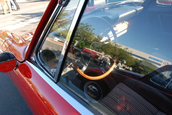 Polo Red 1966 Porsche 911 coupe _interior shot with window reflections_cars&coffee/Irvine_10/19/13