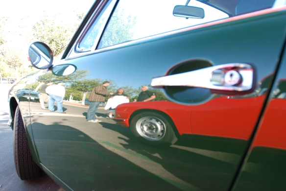 Irish Green 1968 Porsche 912 coupe_drivers door reflections_cars&coffee/Irvine_10/19/13
