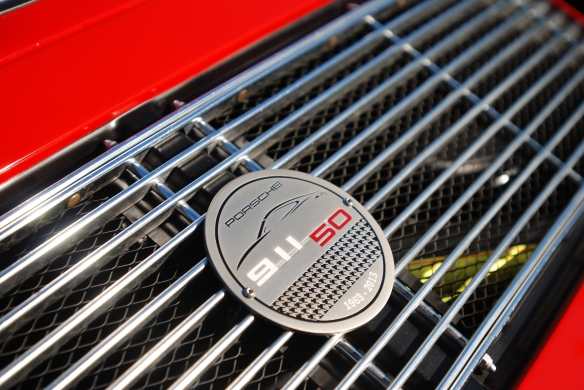 Polo Red 1966 Porsche 911 coupe _Porsche's 50th anniversary/commemorative rear grill badge_cars&coffee/Irvine_10/19/13