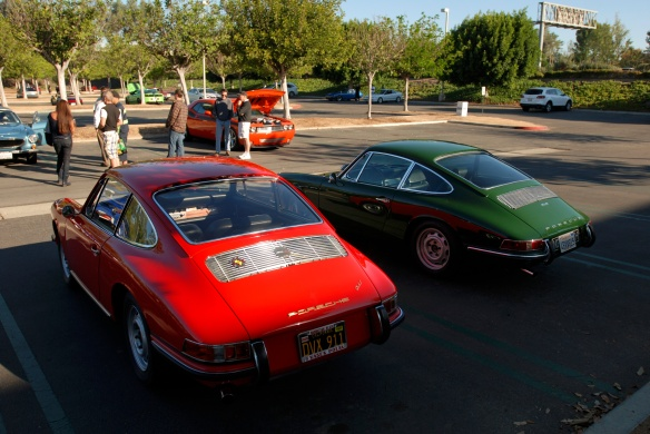 Polo Red 1966 Porsche 911 coupe and irish Green 1968 Porsche 912 coupe_ shadowed & highlighted rear views_cars&coffee/Irvine_10/19/13
