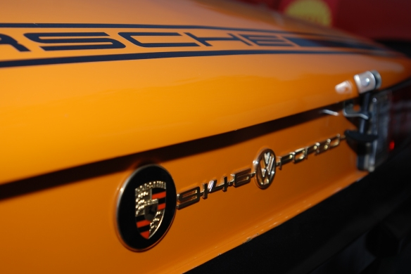 Signal Orange 1971 Porsche 914-6 GT_rear view / European rear badging_cars&coffee/Irvine_10/19/13