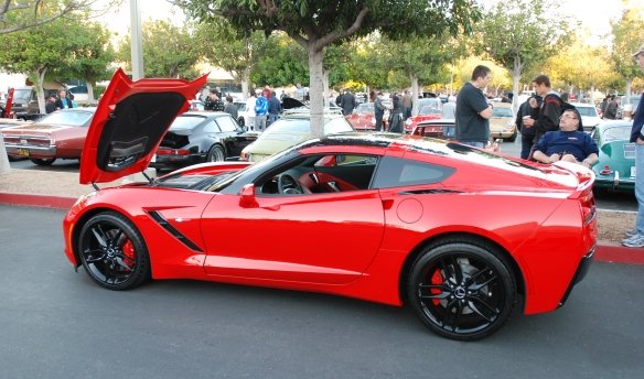 2014 Torch red Corvette Sting Ray_ 3/4 side view_cars&coffee/irvine_November 2, 2013